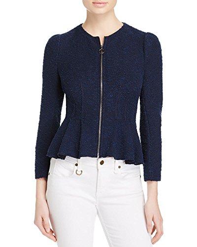 - Rebecca Taylor Womens Zip Front Boucle Tweed Jacket Navy 6