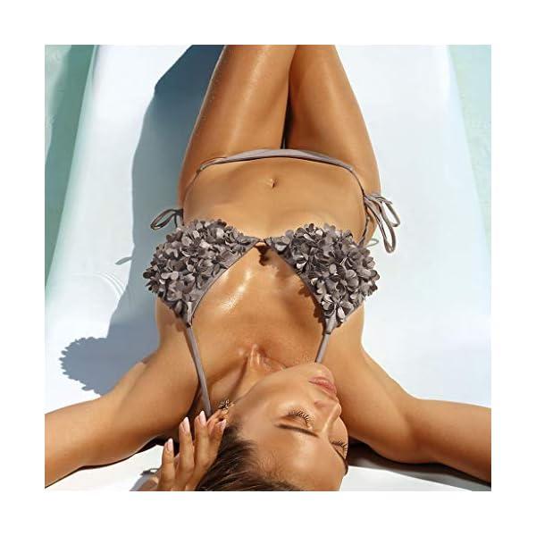 Donna e Ragazza Lace Up Bikini Spiaggia Set con Petalo Costume Intima da Bagno con Imbottito Push-Up Coordinati… 3 spesavip