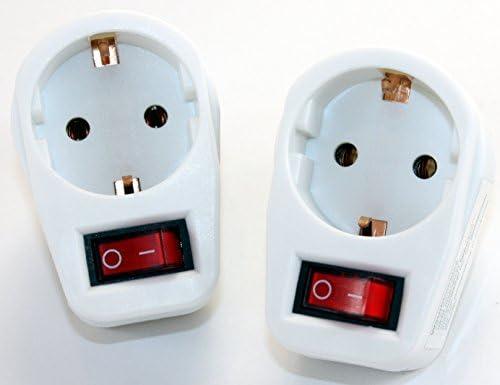 1-fach Steckdose mit Schalter Adapter 1fach Mehrsteckdose Multistecker Adapterstecker Schutzkontakt 606 (2 Stück)
