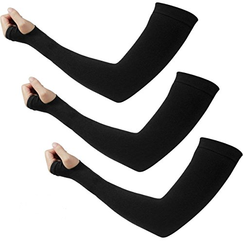 HQdeal Sun UV Protection Sleeves for Men Women Cooling Arm Sleeves Warmer Long Protective Tattoo Cover Golf Cycling Running Fishing Driving Basketball Baseball 3 Pairs Black
