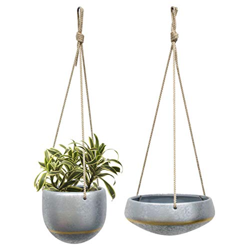HangingPlanters Flower Plant Pot - Silver Galvanized Ceramic Shallow 8
