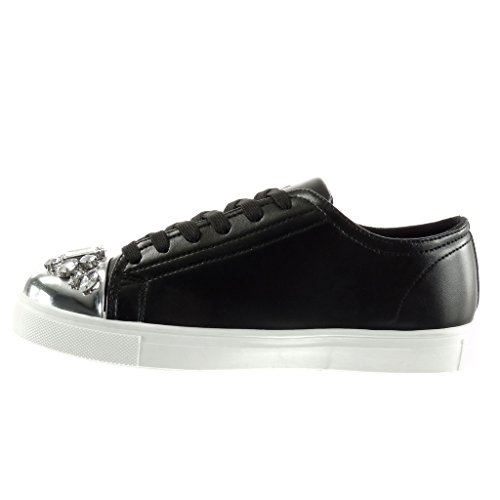 Angkorly - damen Schuhe Sneaker - sneaker Sohle - Schmuck - glänzende flache Ferse 2.5 CM Schwarz