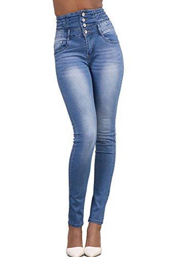 YACUN Les Femmes Bodycon Skinny Jeans Taille Haute, La Cheville. LightBlue