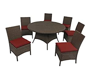 "Creative Living 10093537-RBR Bali 7pc 56"" Round Dining Set with Armless Chairs, Ribbed Brick"
