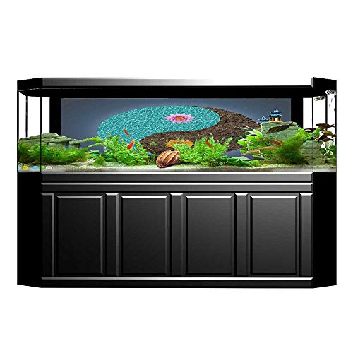JiahongPan Fish Tank Background Yoga Yin Yang with Peace Balance in Earth Opposite Contrary Forces Art Teal Blue Brown PVC Aquarium Decorative Paper L23.6 x H11.8