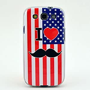 Us Flag Mustache Soft TPU Imd Case for Samsung Galaxy S3 I9300