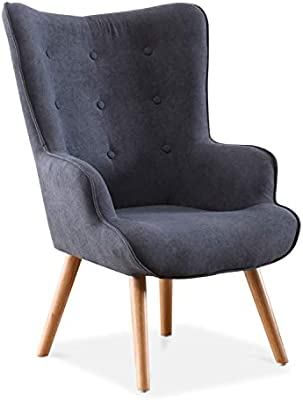 Adec - Voss, Sillon de diseño, butaca de Espera Fija, Patas nórdicas en Madera Color Haya, descalzadora tapizada en Color Gris, Medidas: 71 cm (Ancho) ...