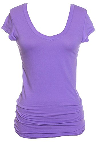Active Basic Women's Plain Basic Deep V Neck T-Shirt with Cap Sleeves,Medium,Lavander