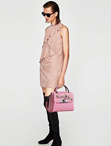 NICOLE&DORIS Mujeres Top Handle Bolsos Bolso de hombro Crossbody Bolso Niñas Bolso Bolsa Bolsa PU Cuero Púrpura Rosado