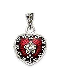 925 Sterling Silver Red Enamel Marcasite Heart Photo Pendant Charm Locket Chain Necklace That Holds Pictures Fine Jewelry For Women Gift Set