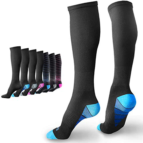 BAMS Premium Bamboo Compression Socks for Men & Women - Best Antibacterial 15-20 mmHg Graduated Knee-High Sock with Hypoallergenic Odor-Kill Technology for Running, Sports, Travel, Maternity (1 Pair)