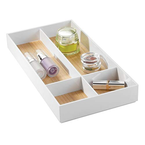 mDesign Stackable Makeup Organizer for Bathroom Drawers, Vanities, Countertops: Organize Makeup Brushes, Eyeshadow Palettes, Lipstick, Blush, Concealer - 4 Sections - White/Light Wood Finish