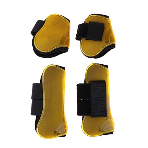 DYNWAVE 4 Pack Open Front Boots Horse Exercise Training, Jumping, Riding, Eventing, Dressage Boots Set - Impact-Absorbing Wrap - Yellow ()