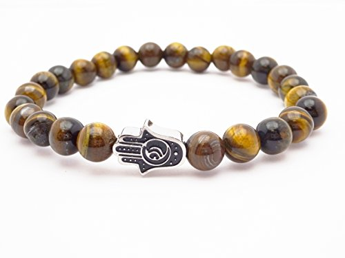 Eye of the Tiger Brown Bead Bracelet with Hamsa by Fine Jewelry 4 Me (Image #3)