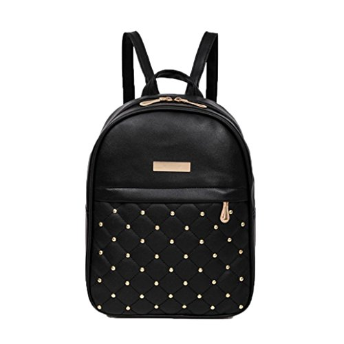 ChainSee Rivet Bead Backpack Rucksack Travel Shoulder Casual Bag for Women Girl (Black)