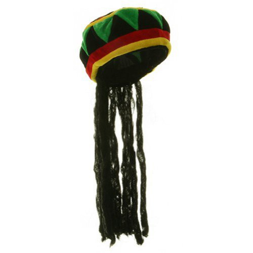 Jamaican Rhasta Hat with Dreadlocks, Black, One (Dreadlocks Costumes)