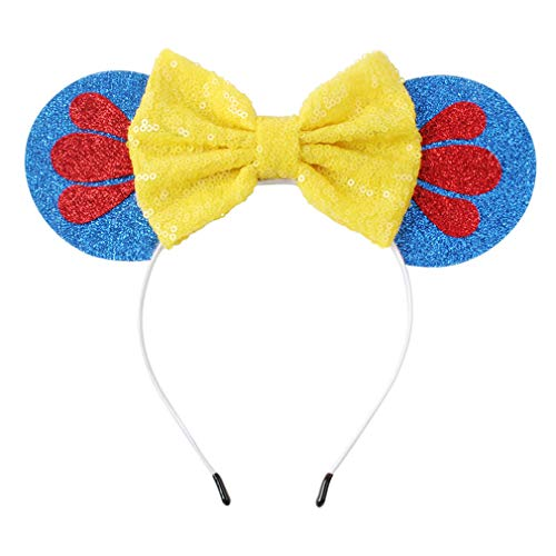 YanJie Snowflake Mouse Ears Headband, Sequin Hair Accessories Costume(Yellow) ()