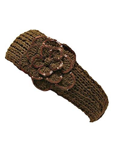 (Brown Crochet Headband With Sequin Flower)