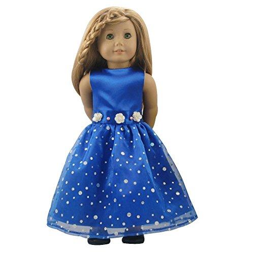 CNACCASU Blue Long Dress for 18 Inch American Girl Shiny