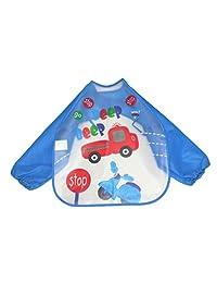 Putars Fashion Baby Toddler Kids Boys Girls Long Sleeve Waterproof Feeding Art Apron Bib Smock