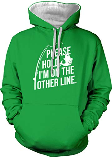 Please Hold. I'm On The Other Line. - Unisex Two Tone Hoodie Sweatshirt (Kelly Green/White Strings, X-Small)