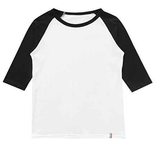 BesserBay Child Raglan Plain DIY Crew Neck Funny Half T Shirts 3/4 Sleeves School Uniforms Baby Tees