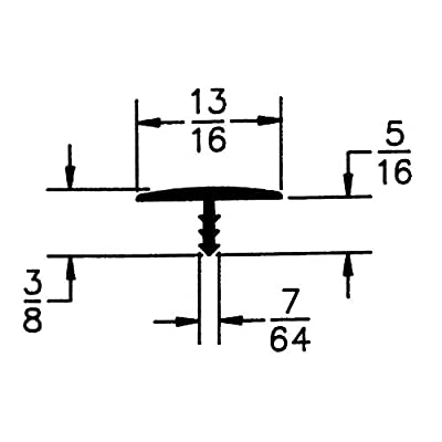 Outwater Industries 25 Foot Black 13/16 Inch Center Barb Tee Moulding T Molding