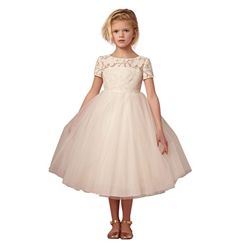 Leyidress Ivory Blush Lace Tulle Wedding Flower Girl Dress kenn Length Gril Dress Formal Occasion Kids Party (Dress Grils)
