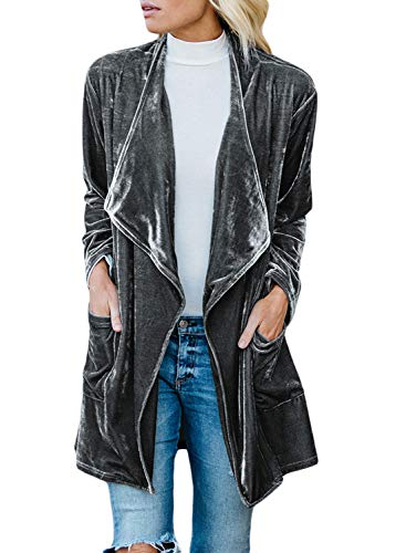 Happy Sailed Women Lapel Open Front Winter Coat Drape Velvet Cardigans Jacket Outwear with Pockets XL Gray