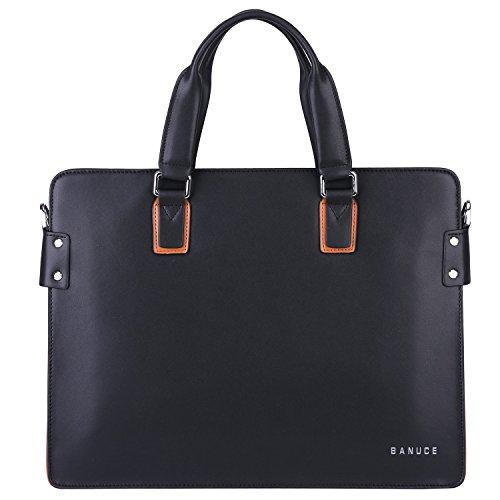 Banuce Leder Aktentasche für Männer Laptoptasche Jute Handtasche Schulter Kuriertasche