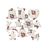 truye rrelk 2019 Snowman Angel Deer Cartoon Spaceship Christmas Ornaments Set Wood Hanging Decorations Gift Tag for Christmas Tree Decor 10 Pieces