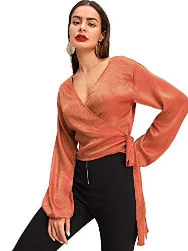 Romwe Women's Long Bishop Sleeve V Neck Bow Belted Surplice Wrap Top Shirt Blouse Orange X-Large