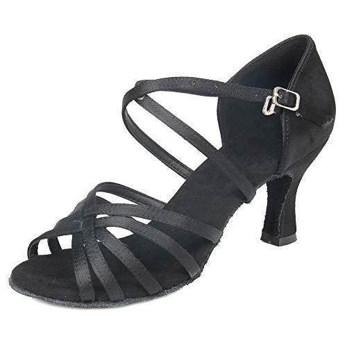 Con Abierta Baile Correas De Negro Cruzadas 7cm Latino Wzj Salón Mujeres Satén Zapatos Modelo Práctica cl Rendimiento Hipposeus Punta FBzwtOqx