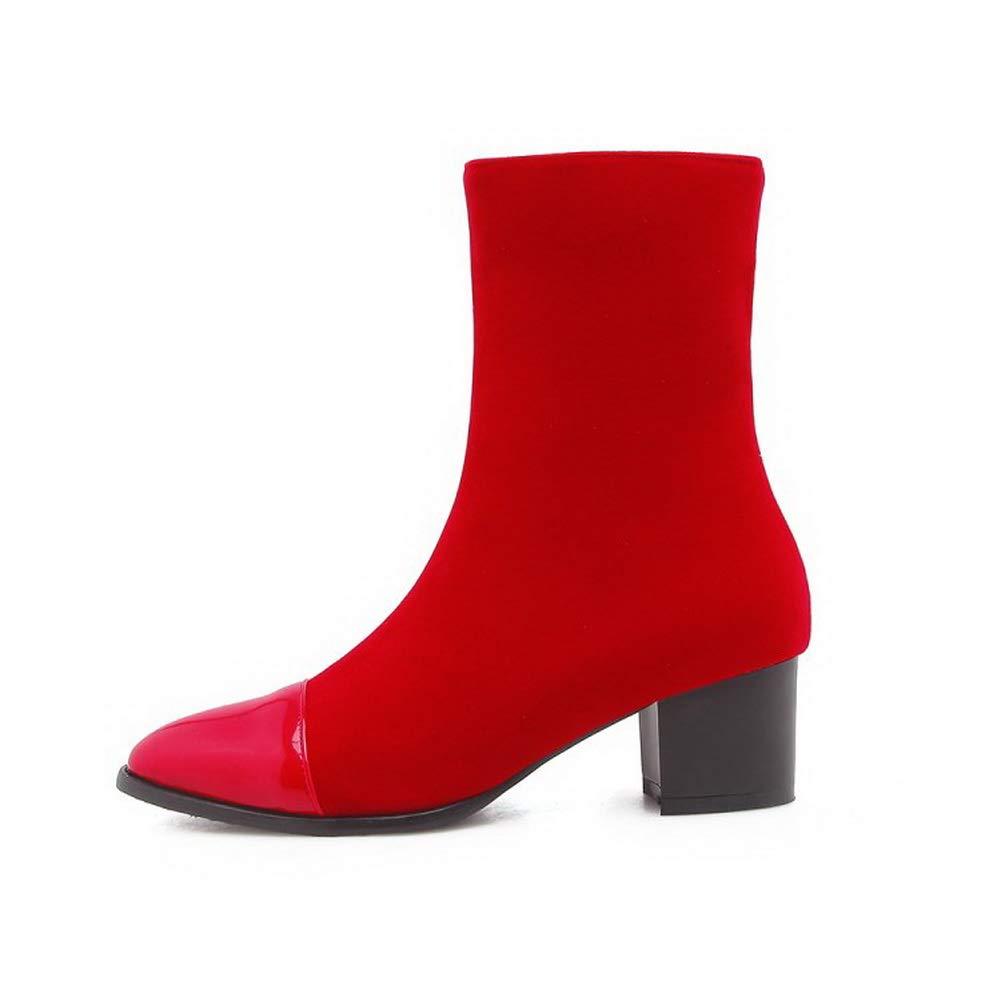 AN Womens Chunky Heels Zipper Urethane Boots DKU02435