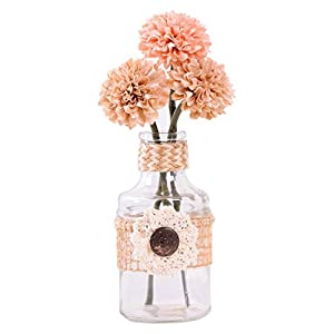Mini Artificial Fake Flower with Vase for Dining Table Decor Indoor/Outdoor Decoration Pink 120