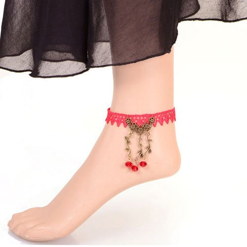 Idin Fashion Anklet - Gothic style red lace adjustable anklet with vintage flower and bead (approx. 24 cm)