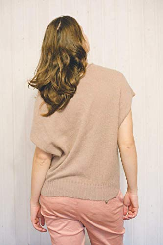 Women's luxury sleeveless top from angora beige color from lush soft fluffy yarn ()