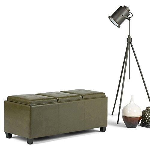 Simpli Home 3AXCAVA-OTTBNCH-02-GR Avalon Storage Ottoman in Deep Olive Green Faux Leather