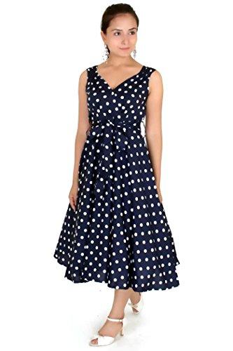 Dress 40s 50s Swing Vintage Rockabilly Ladies Womens Party Dresses Plus Size 20,Blue (Fancy Dress Size 20)