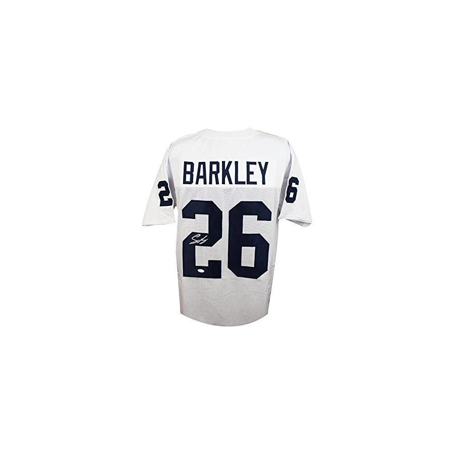 Saquon Barkley Autographed Penn State Custom White Football Jersey JSA COA (B)