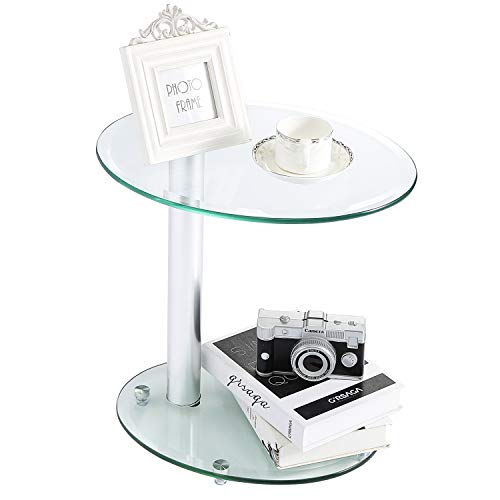 Media Leather Table Storage - Rfiver Oval Coffee Table Small Side Table End Table, Save Space Corner Table for Living Room Bedroom, Clear Tempered Glass W17.7 x D13.8 x H17.7, ET3001