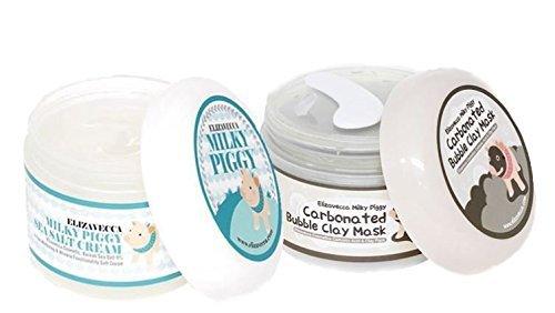 (Milky Piggy Bubble Clay Mask 100g + Milky Piggy Sea Salt Cream 100g by Green Piggy )