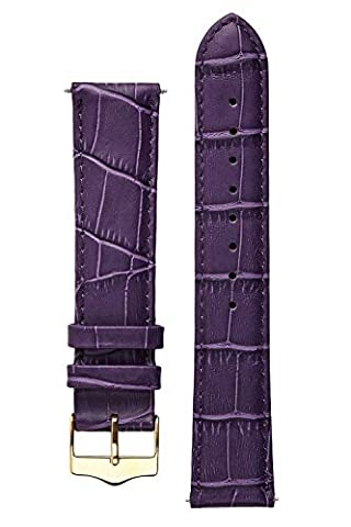 Signature Tropico in Purple 18 mm short watch band. Replacement watch strap. Genuine leather. Gold (Purple Gold Watch)