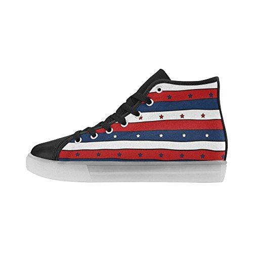 Teschi E Ossa Di Interestprint Illuminano Scarpe Da Donna Lampeggianti Sneakers Rosse A Strisce Bianche E Blu Con Motivo Patriottico