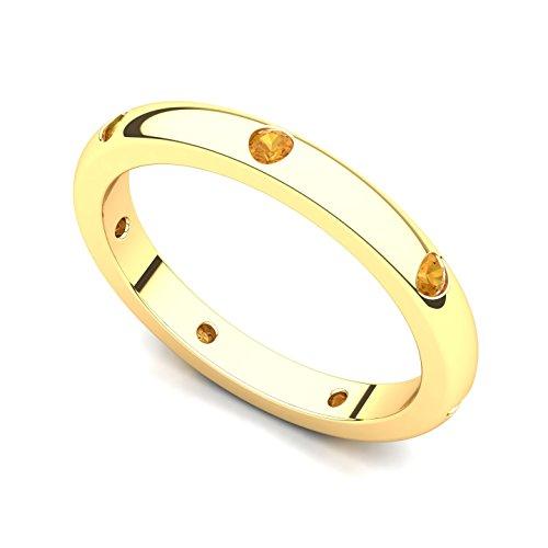 18k Yellow Gold Bezel set Citrine Semi Eternity Band Ring, 6.5