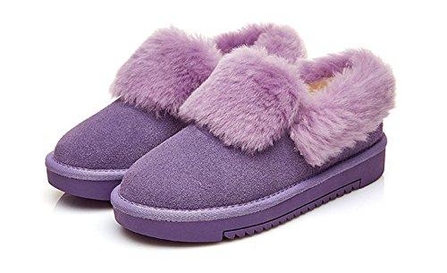 Bottine Chaussure À Légère De Velours Jrenok Botte D'epissage Coton Femme Avec D'hiver Enfiler Chaude Violet qPtqvX4x
