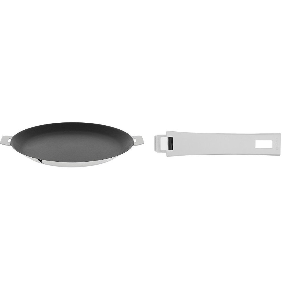 Cristel CR30QE Non-Stick Crepe Pan, Silver, 12'' with Cristel Mutine Pmaw Handle, Long, White