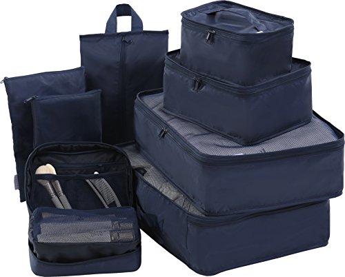 Travel Packing Cubes Set Toiletry Kits Bonus Shoe Bag JJ POWER Luggage Organizers (Navy)