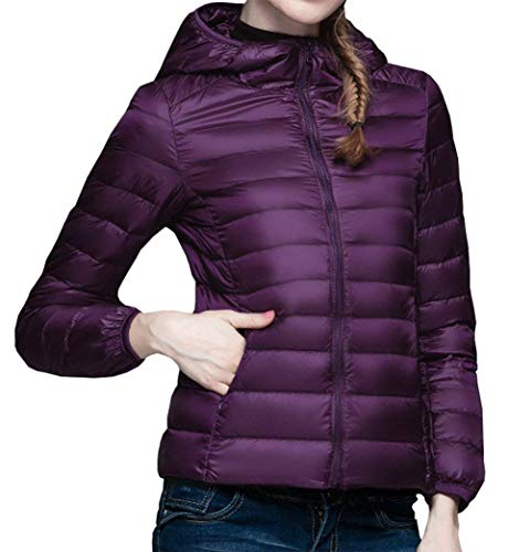 Doudoune Femme Manches Longues Slim Fit Doudoune Manteau  Capuchon Hiver Automne Elgante Costume Fashion Legere Packable Uni Manche Quilting Blouson Courte Manteau Violet