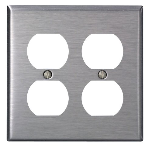 Leviton 84016-40 2-Gang, Duplex Device Receptacle Wallplate, Standard Size, Device Mount, Stainless (Double Power Outlet Cover)
